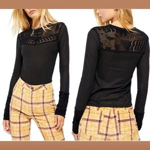 NWT $78 Free People Colette Long Sweater in Black